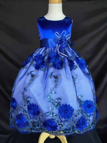 Flower Girl Bridesmaids NEW Floral Elegant Embroidery Summer Girl Dress #09