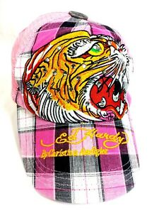 Women s Ed Hardy pink plaid bling snapback hat vintage tattoo cotton ... 17ae15b1239