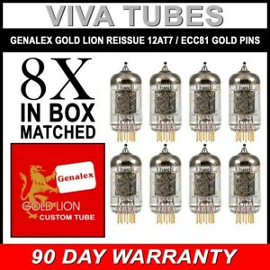 Genalex-Reissue-ECC81-12AT7-Gain-Matched-Octet-8-Vacuum-Tubes-GOLD-PINS