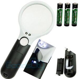 led light 45x hand held magnifier reading magnifying glass lens. Black Bedroom Furniture Sets. Home Design Ideas