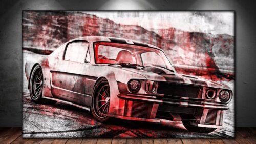 LEINWAND BILD ER XXL POP ART FORD MUSTANG ABSTRAKT GRAFFITTI WAND POSTER 150x90