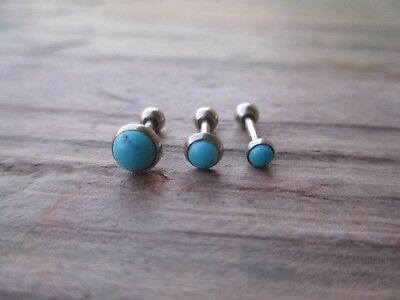 Triple Cartilage Tragus Helix 16g Stud Earring Jewelry Piercing Turquoise Flower