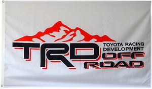 TRD Flag Banner 3x5 ft Toyota Racing Development Motor Sports Car Garage White
