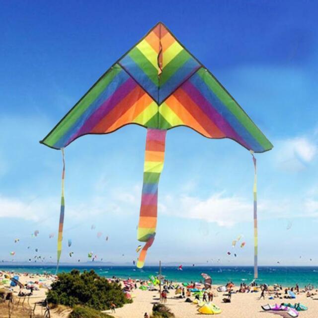Rainbow Triangle Kite Outdoor Children Fun Sports Kids Toys Gift Air Fly
