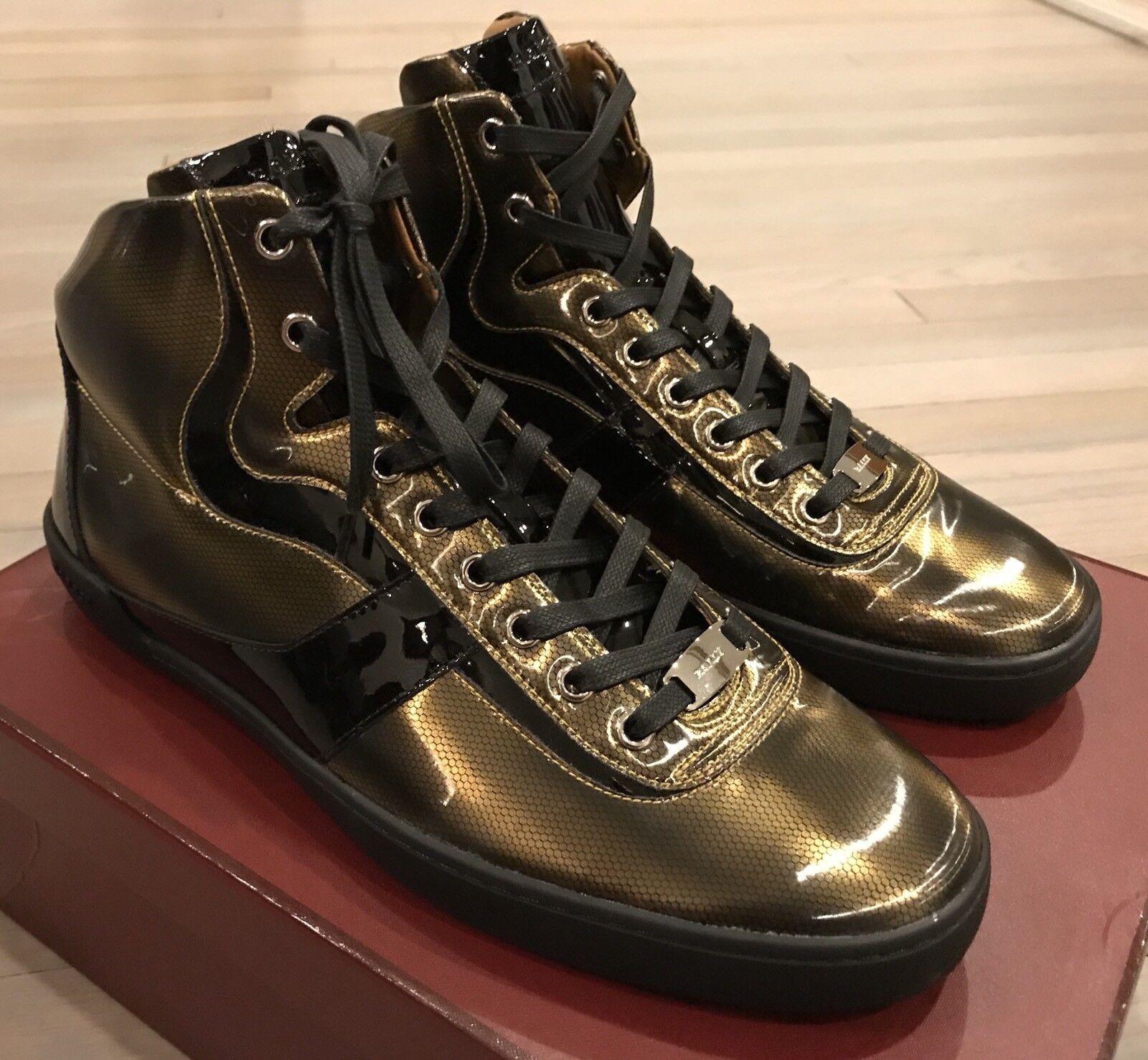 700  Bally Eroy 01 US Gold High Tops  size US 01 9.5 5d762b