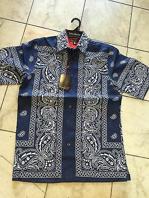 NWT Prestige men's multi color 100% linen Paisley shirt short sleeve size L
