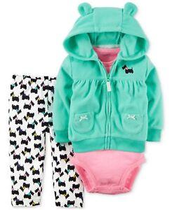 Carter's NWT 12M Infant Girl Fleece Little Jacket Bodysuit Pant Set $32