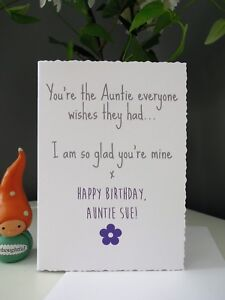 Image Is Loading Happy Birthday Auntie Card Aunty Humour Handmade Personalised