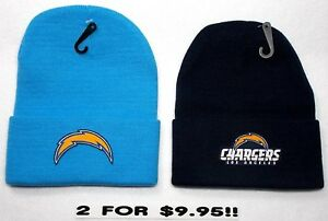 READ-LISTING-Los-Angeles-Chargers-HEAT-Set-Flat-Logos-on-2-Beanie-Knit-Cap-hat