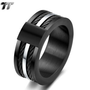 Fashion-TT-9mm-Black-Stainless-Steel-Wire-Band-Ring-R382-NEW