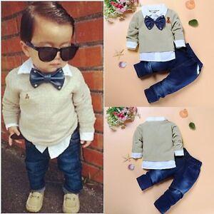 c59ee308f349 2Pcs Toddler Kids Baby Boy Gentleman Bow Tie Coat +Denim Jeans Pants ...