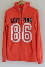 Victorias Secret Pink Zip Up Hoodie Orange Womens Small Love Pink VS Sweater