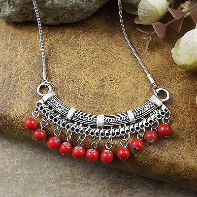 Bohimian Style Fashion Jewelry Red Turquoise Bead Charm Necklace Pendant Chain