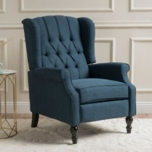 Exceptionnel Details About Dark Blue Wingback Recliner Arm Chair Recliners Armchair  Accent Chairs Armchair