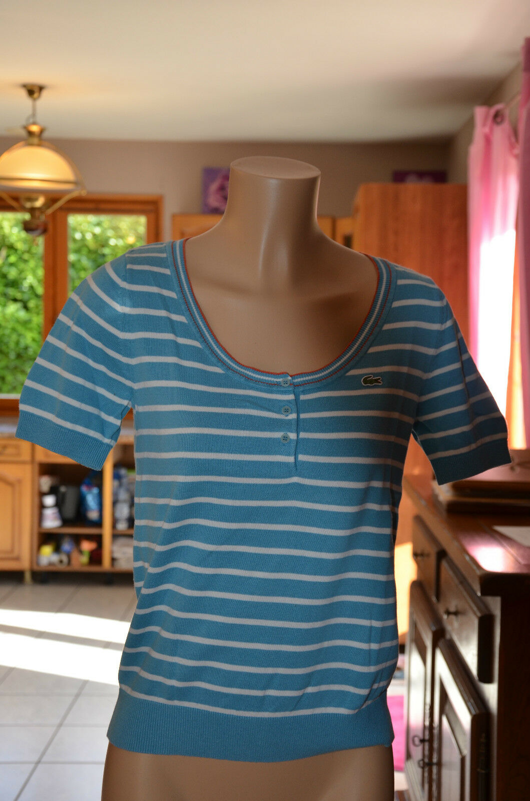 LACOSTE- Nice top short sleeves woman bluee - Size 38 - MINT