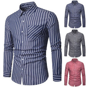 15933bcb0bf Details about Men s Slim Fit Long Sleeve Cotton Shirt Button Down Casual  Business Dress Shirts