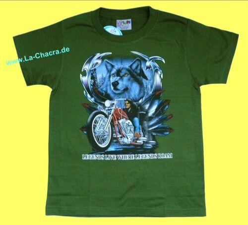 Rocker USA Chopper Motorrad Gr 146*152 122*128 T-Shirt oliv grün: Biker Wolf