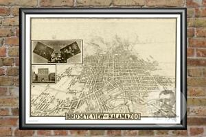 Vintage Kalamazoo MI Map 1908 Historic Michigan Art Old Victorian