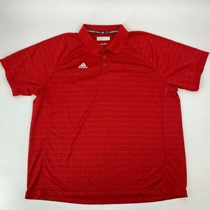 Adidas-Mens-Polo-Golf-Shirt-Size-2XL-2X-Red-Climalite-Short-Sleeve-Striped