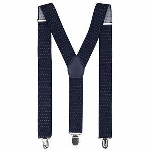 Azul-Marino-Punto-Diseno-Para-Hombres-Caballeros-35mm-Ancho-Ajustable-Tirantes