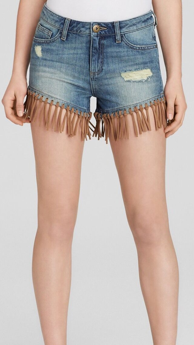 DL1961 Women's Shorts Ivy High Rise Leather Fringe Distressed Size 25 NWT  178