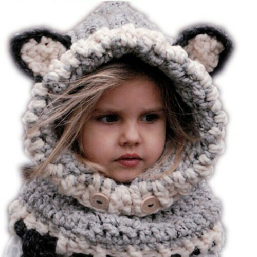 New Design Cat Fox Ear Winter Windproof Baby Hats and Scarf Set F07#