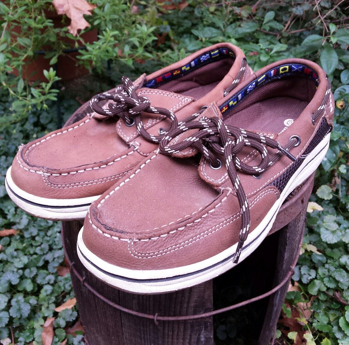 Earth Shoe  Schooner Mens 8 1/2  Shoe Brown Leather Boat Deck Shoes Comfort Driving c4be43