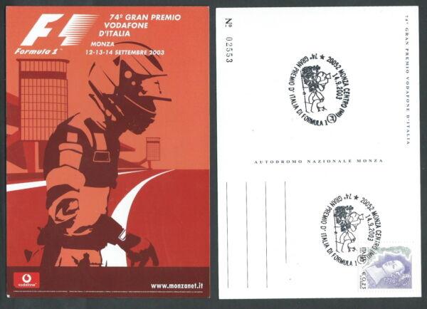 2003 Italia Cartolina Annullo Auto F1 Gran Premio Monza - F3 Finement Traité