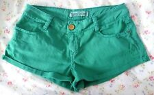 ZARA TRF Emerald Green Core Denim Shorts / Hot Pants - Size 8