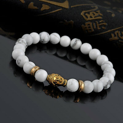 Natural White Turquoise Stone Gold Buddha Beaded Charm Lucky Bracelet 8mm one hs