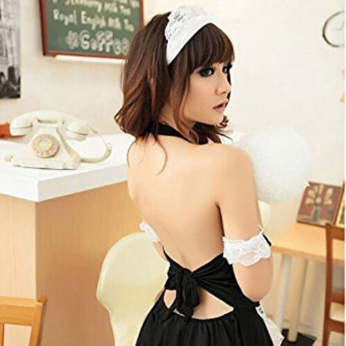 Women French Maid Outfit Fancy Dress Costumes Girls Lingerie Cosplay Nightgown