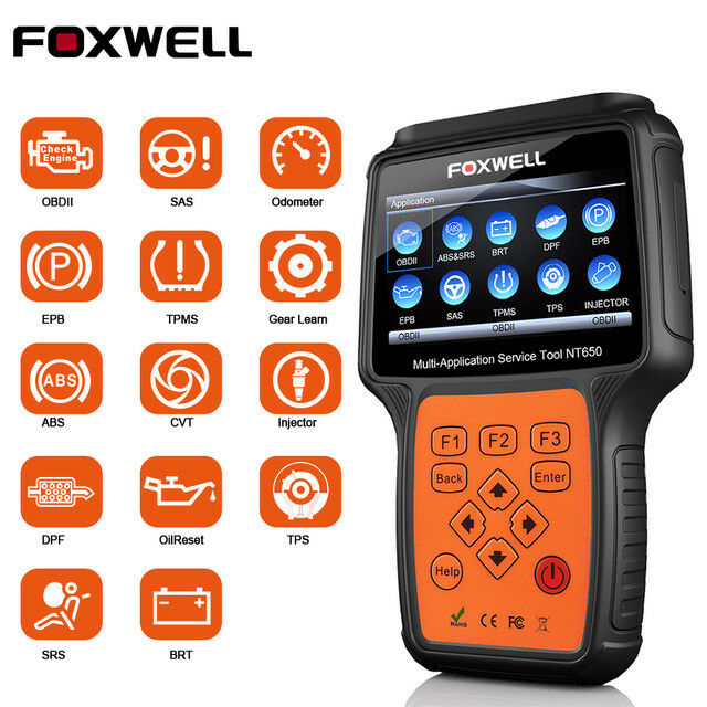 FOXWELL NT650 OBD2 Diagnostic Scanner SAS EPB DPF Injector Oil Reset Scan Tool