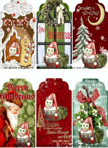 GIFT TAGS FOR SCRAPBOOK PAGES 15 12 CHRISTMAS CAT SANTA SNOW WINDOW HANG