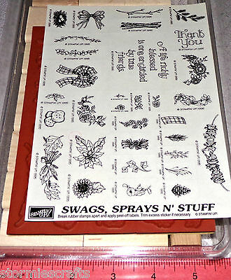 Country Themed Rubber Stamp Set Thank you Flower Stampin Up Swags Sprays N Stuff