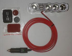 Cigarette-Cigar-Lighter-Plug-to-4-Lighter-Sockets-amp-2-USB-Port-3-m-long-fused-8A