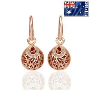 New-18K-Rose-GOLD-Filled-Vintage-Filigree-Drop-Earrings-With-SWAROVSKI-CRYSTAL