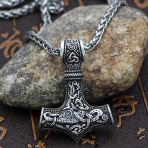 Men-039-s-Vintage-Silver-Norse-Viking-Thor-Hammer-Mjolnir-Amulet-Pendant-Necklace