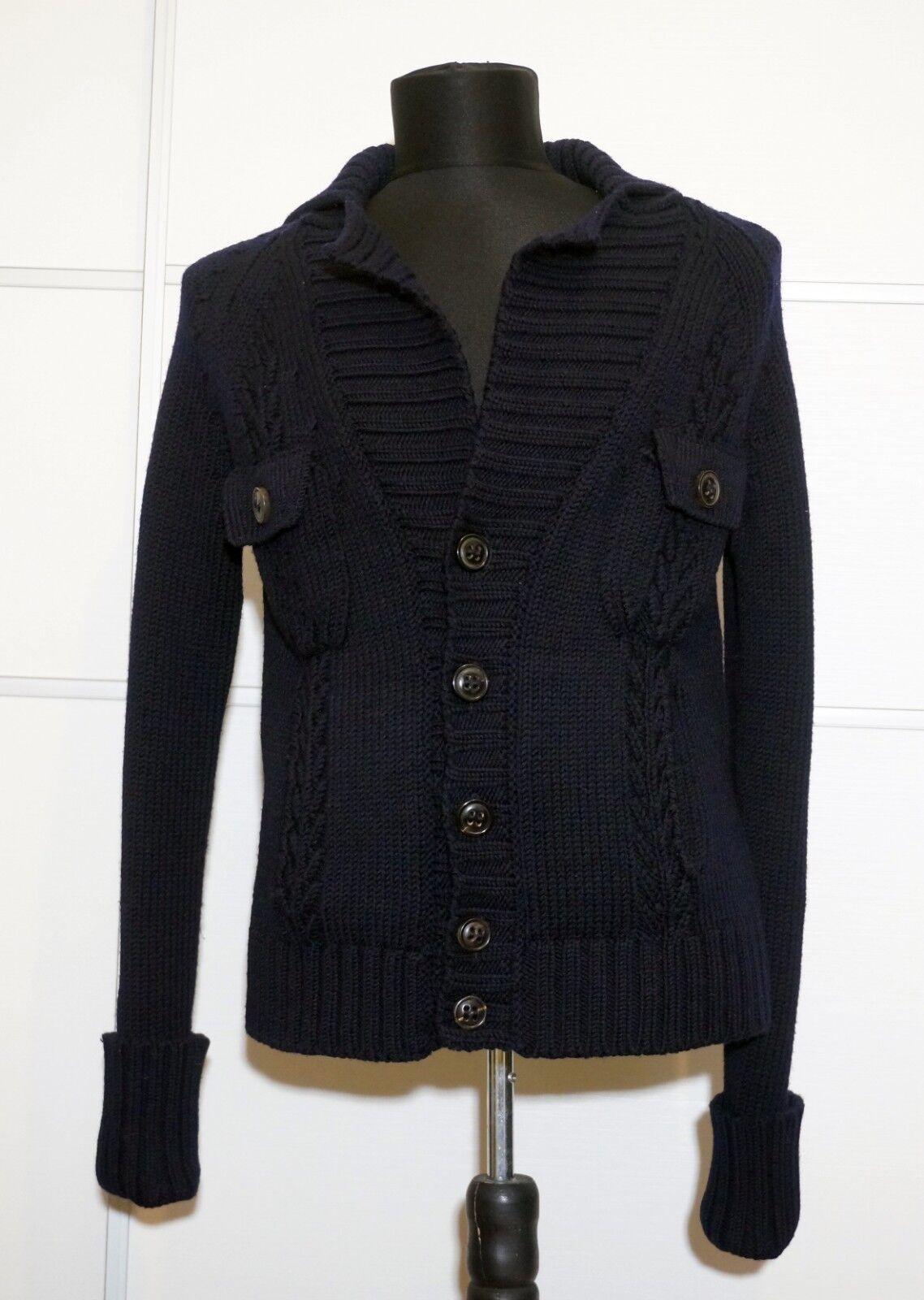 DsquaROT2 100% Wool Dark Blau Knitted Cardigan , Größe:S