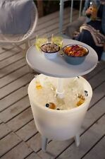 Keter Illuminated Cool bar Dual Purpose Cooling Unit Outdoor Ice Cooler Table