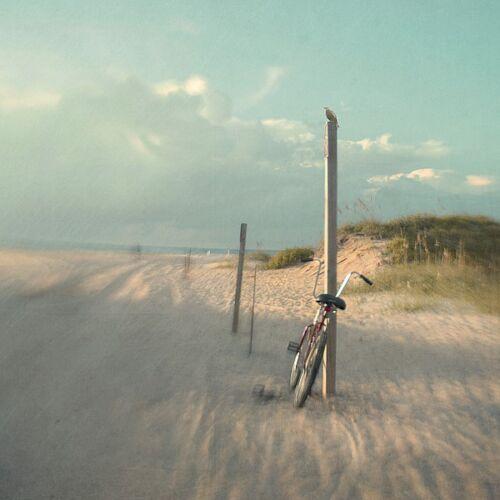 Hanna Photography Beach Bicycle Print Poster 32x32 Biking on Ocracoke Dawn D