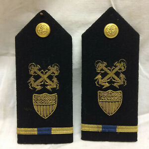 Vintage-Old-Shoulder-Boards-Military-with-Eagle-Anchor-Buttons-Bullion-Shield