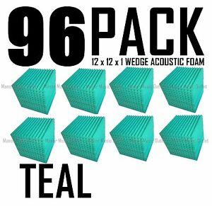 96-pack-TEAL-Acoustic-Wedge-Sound-Recording-Studio-Foam-SOUNDPROOF-12x12x1