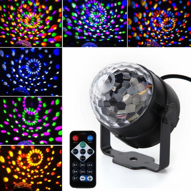 LED Magic Ball Stage Light Club RGB Rotating Disco Party DJ Decor w/ Remote new