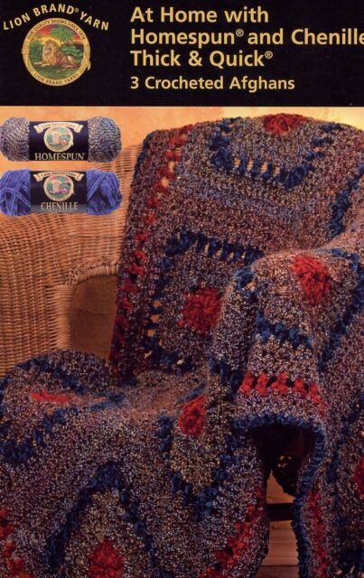 At Home With Homespun And Chenille 3 Crocheted Afghan Patterns