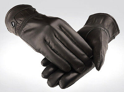 Men/'s Black Genuine Sheep Leather Winter Wrist Driving Gloves One Button M-02