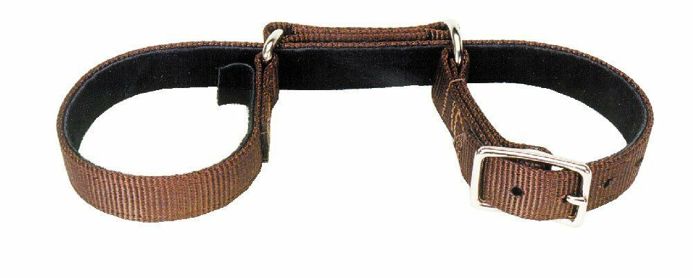Western Brown Nylon 1.5  Wide Shaped Hobble with Steel Hardware