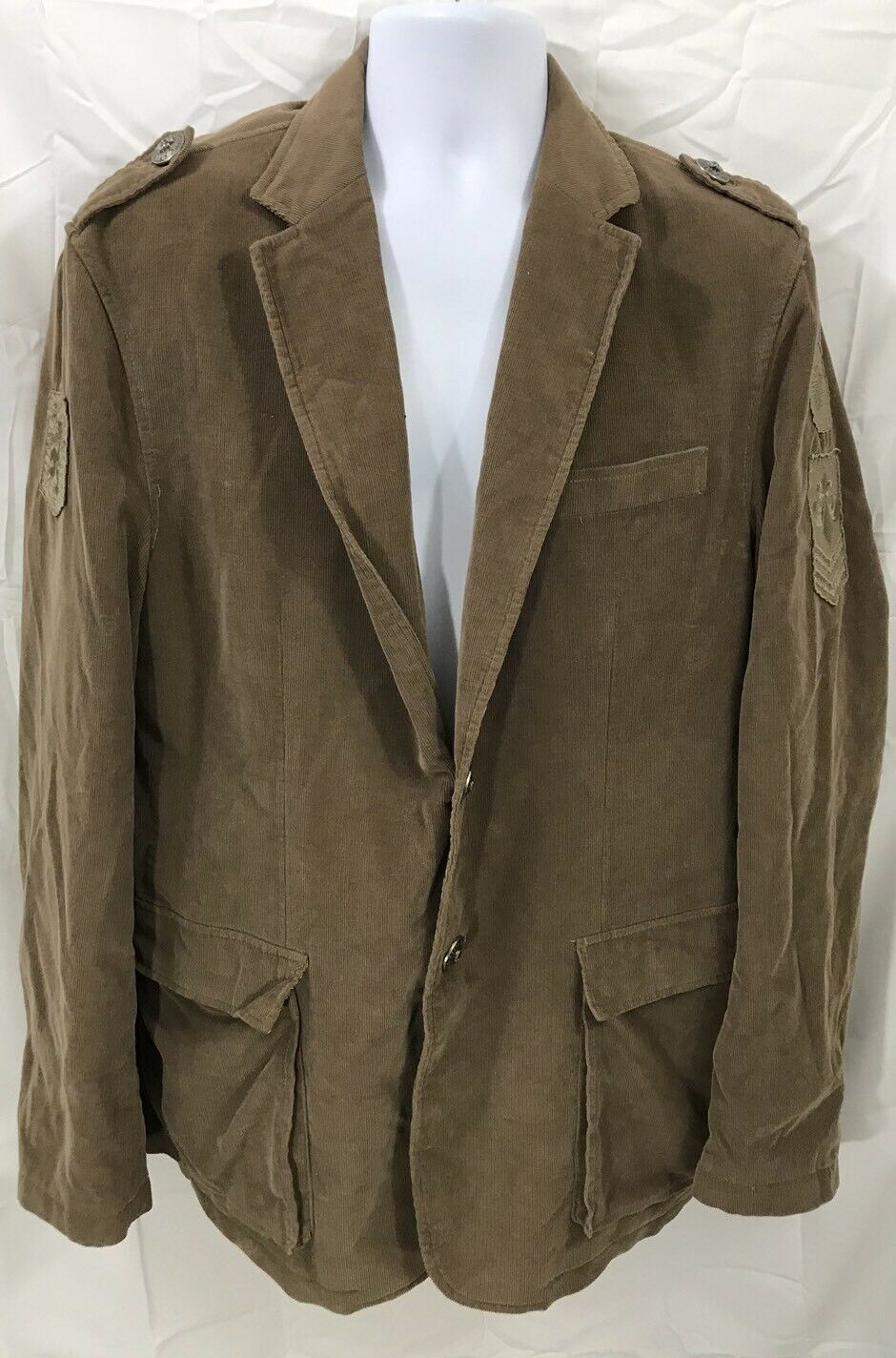 AFFLICTION  Braun Corduroy Sportcoat  Patched 2 button  Herren Größe Large (44-46)