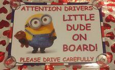 Little Dude On Board Minion Laminated Car Sign