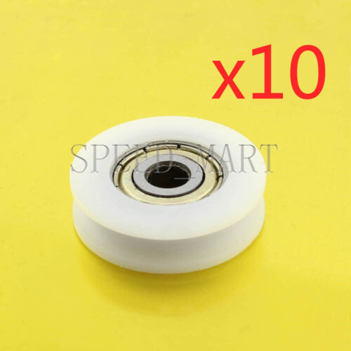 10 pcs U Nylon plastic Embedded 625 Groove Ball Bearings 5*24*7mm Guide Pulley