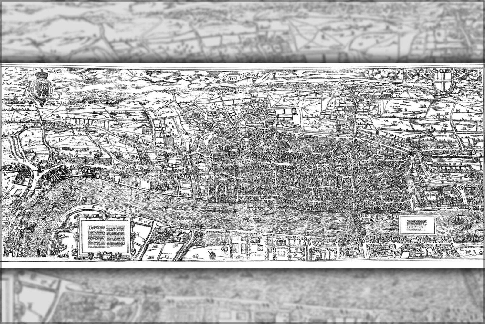 Poster, Molte Misure; Civitas Londinium o il il il Agas Mappa Del Londra Tardi 1500s 4545f0
